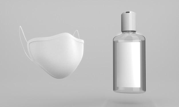 Flasche händedesinfektionsmittel und mundschutz