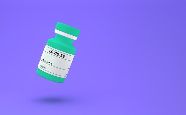 Flasche impfstoff gegen covid-19-coronavirus. 3d-illustration. konzeptionelle darstellung von impfstoffflaschen für neuartige coronavirus-covide. 3d rendern.