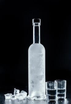 Flasche kalter wodka auf dunkelheit