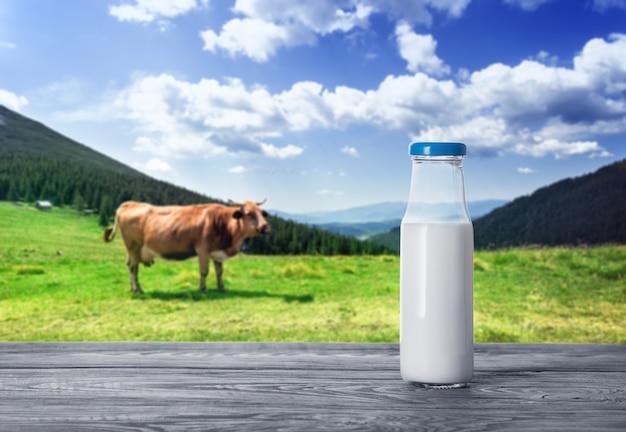 Flasche milch mit einer kuh auf bergweide