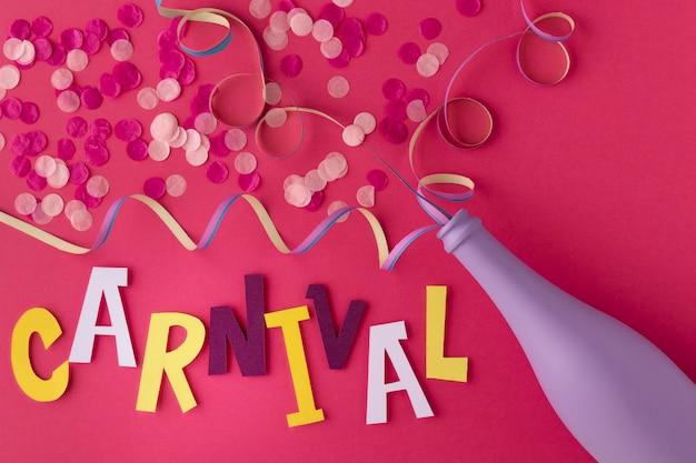 Flasche mit konfetti für den karneval