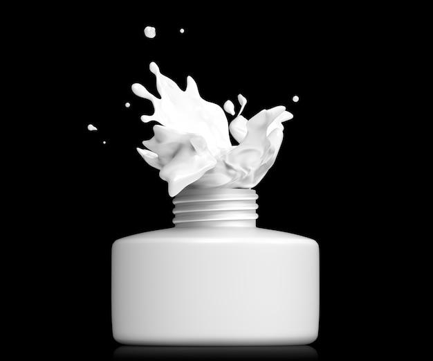 Flasche mit offenem verschluss und spritzender weißer farbe oder flüssigkeit
