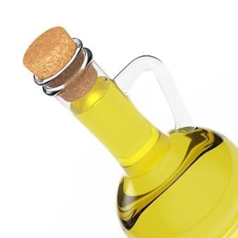 Flasche olivenöl auf weißem hintergrund. 3d-rendering Premium Fotos
