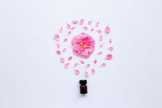 Flasche rosafarbenes ätherisches öl für aromatherapie auf weiß