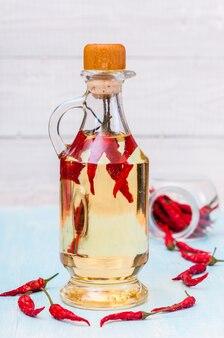 Flasche rotes chiliöl und chili-pfeffer isoliert Premium Fotos
