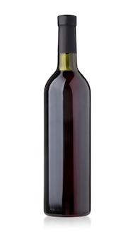 Flasche rotwein isoliert auf weiß mit beschneidungspfad