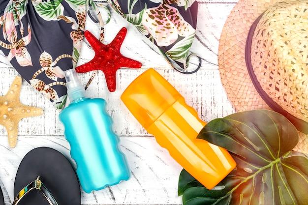 Flasche sonnencreme und spray