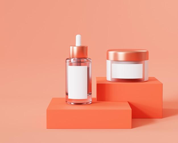 Flasche und glas für kosmetikprodukte auf orangefarbenem podium