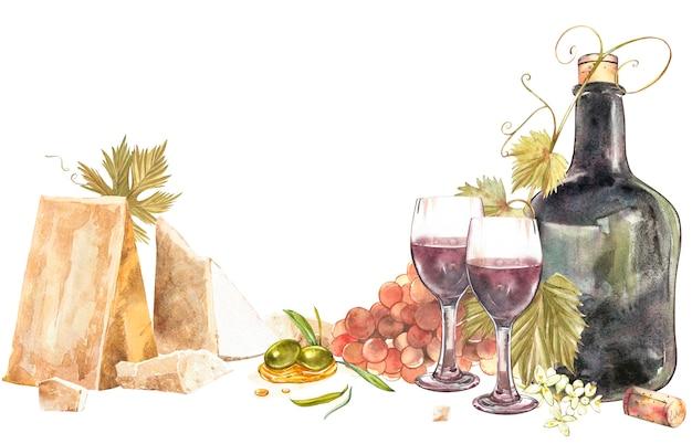 Flaschen und gläser wein und zusammenstellung der trauben, getrennt auf weißem hintergrund. hand gezeichnete aquarellillustration.