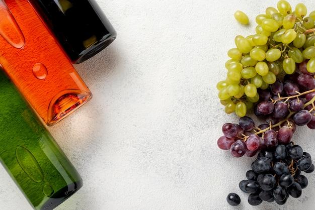 Flaschen wein und bio-trauben