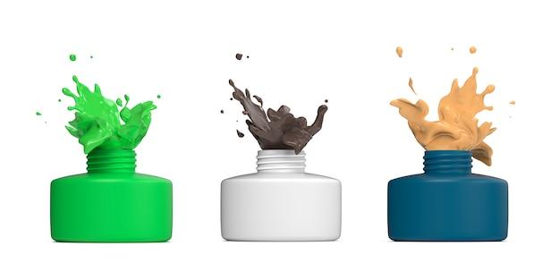 Flaschenset mit spritzender bunter farbe
