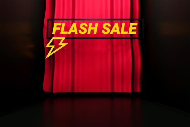 Flash-verkaufstext mit einem roten vorhang und schwarzem hintergrund 3d-rendering