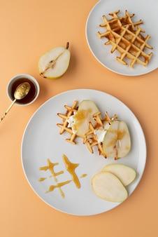 Flat lay frühstück mahlzeit arrangement