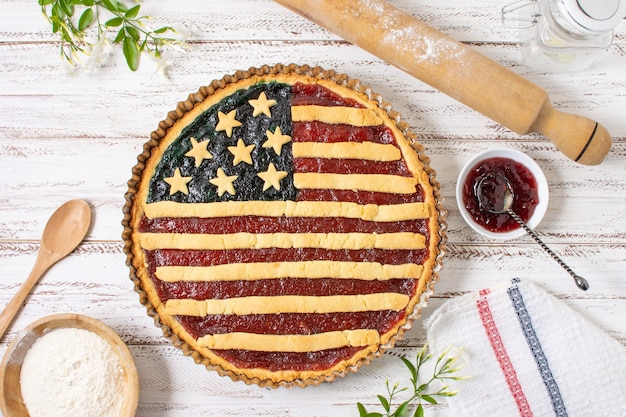 Flat lay independence day pie