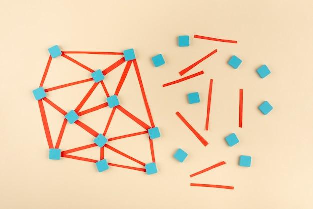 Flat-lay-netzwerkkonzept