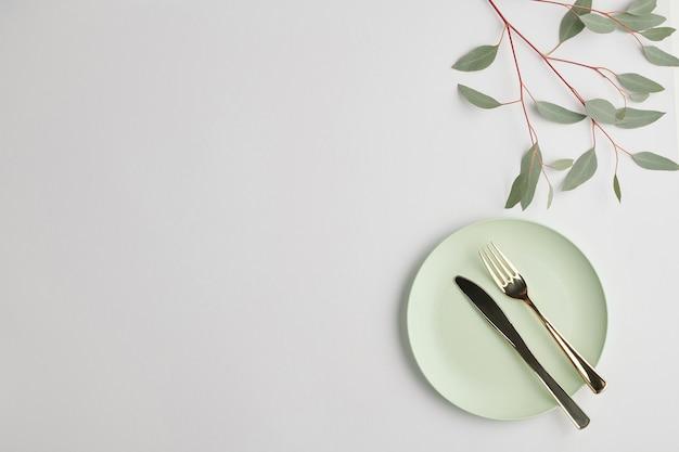 Flatlay der weißen porzellanteller mit stahlmesser und -gabel und zweig der heimischen pflanze mit grünen blättern in der nähe