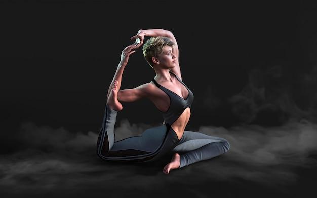 Flexible frau tanzt und posiert im dunkeln mit rauch