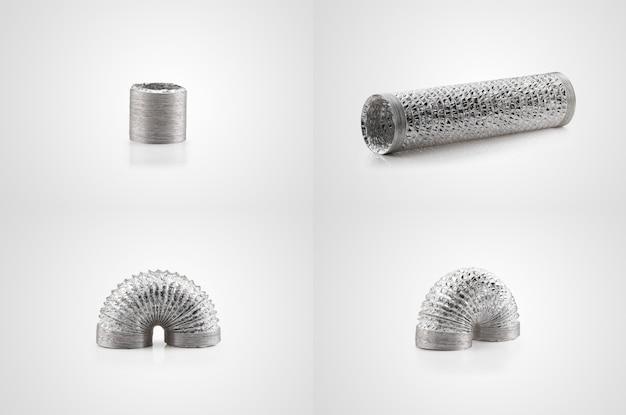 Flexibler luftkanal aus aluminiumfolie auf weißem hintergrund. serie aus verschiedenen blickwinkeln