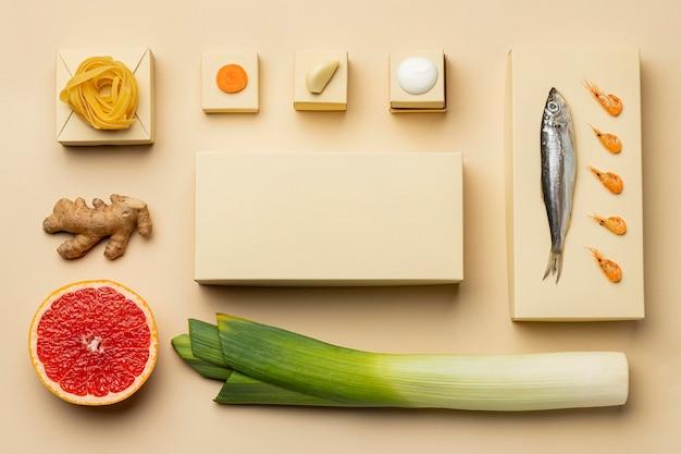 Flexitäre ernährung mit fischarrangement