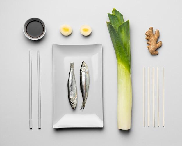 Flexitäre ernährung mit flachem laiensortiment Premium Fotos
