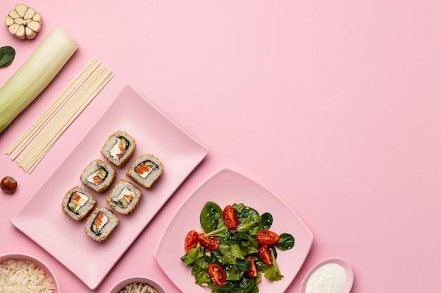 Flexitäre ernährung mit salat flach legen rahmen
