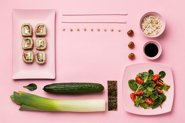Flexitäre ernährung mit salat flach legen