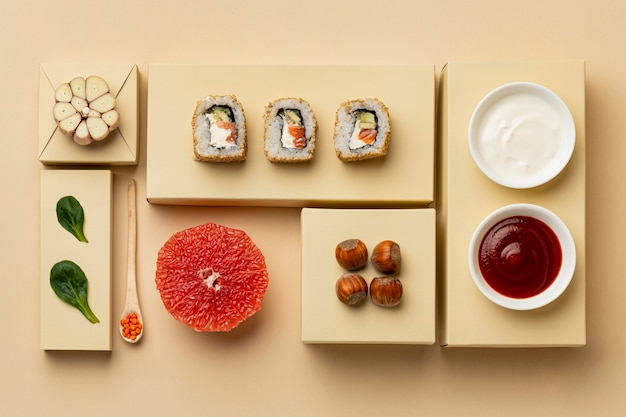 Flexitäre ernährung mit sushi-arrangement