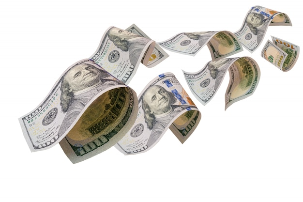Fliegen der us-dollar banknote auf weiß