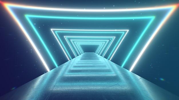 Fliegen durch glühende rotierende neon-dreiecke, die einen tunnel erzeugen, blau-rot-rosa-violettes spektrum, fluoreszierendes ultraviolettes licht, moderne bunte beleuchtung, 3d-illustration