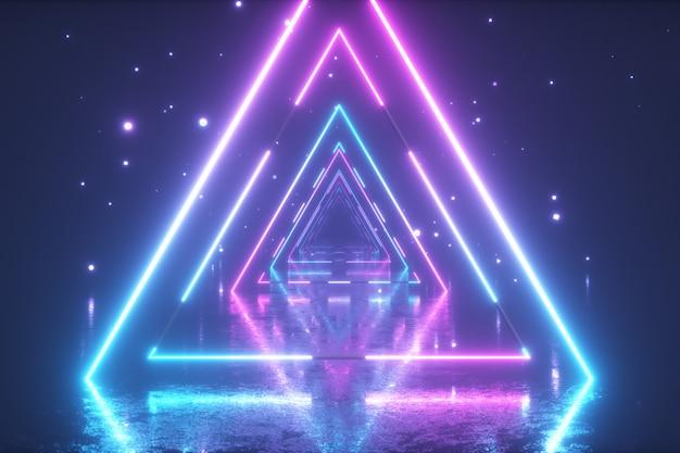 Fliegen durch leuchtende neon-dreiecke mit metallboden, wodurch ein tunnel mit nebel entsteht