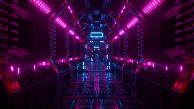 Fliegen in einem raumschifftunnel, einem sci-fi-shuttle-korridor. futuristische abstrakte technologie. technologie und zukunftskonzept. blinklicht. 3d-darstellung