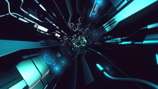 Fliegen sie innerhalb des 3d-renderings des futuristischen metallischen korridors