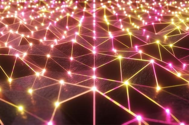 Fliegen über die landschaft eines reliefbereichs in einem futuristischen retro-stil mit einem neongitter und leuchtenden kugeln