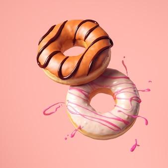 Fliegende donut oder donuts isolieren auf farbigem hintergrund. 3d-rendering.