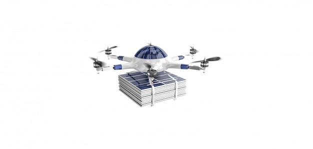 Fliegende drohne mit photovoltaikanlage