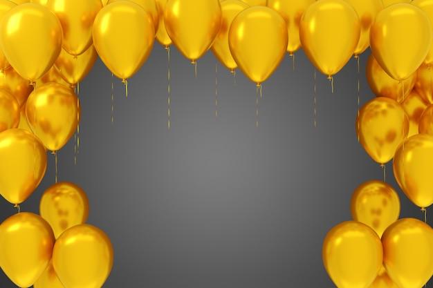 Fliegende gelbe ballons auf grauem hintergrund