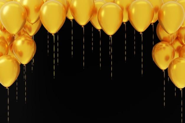 Fliegende gelbe luftballons auf schwarzem hintergrund. vorlage, leerer feiertagshintergrund. 3d-rendering.