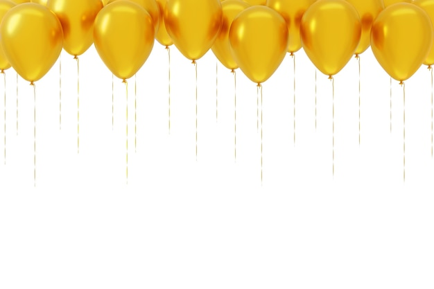Fliegende gelbe luftballons lokalisiert auf weißem hintergrund. vorlage, leerer feiertagshintergrund. 3d-rendering.