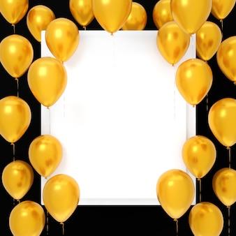 Fliegende gelbe luftballons um leere weiße leere karte auf schwarzem hintergrund. festliche vorlage, feiertag oder partyhintergrund. 3d-rendering.