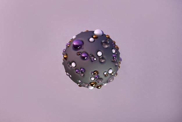 Fliegende goldene perlen und geometrische glasformen in bewegung dynamischer satz schwebender realistischer kugeln moderner hintergrund in dunkelvioletter farbe 3d-rendering-illustration