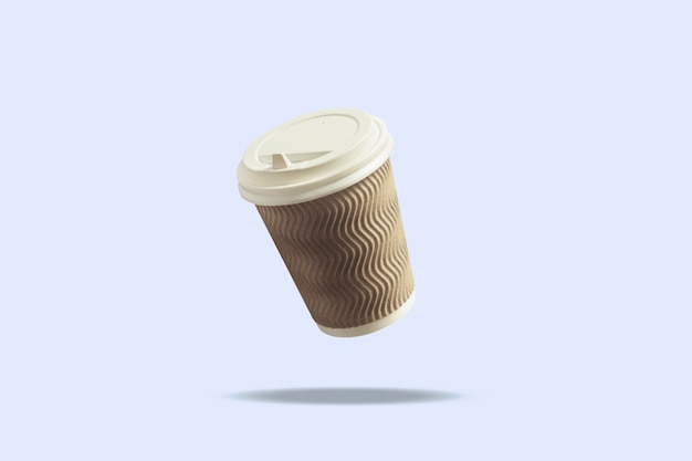 Fliegende papierschale mit einer kappe für kaffee oder tee auf einer blauen oberfläche. levitation. kaffee- und kaffeestubekonzept, mitnehmerlebensmittel, frühstück mit ihnen.
