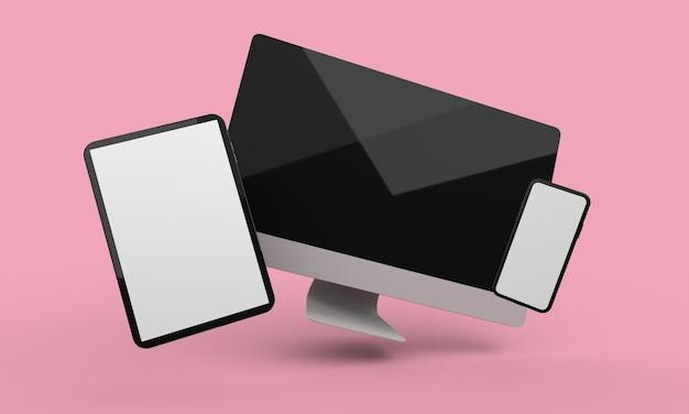 Fliegender desktop-computer, handy und tablet