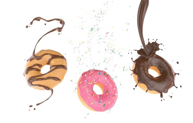 Fliegender donut mit zucker besprüht und schokoladenspritzen