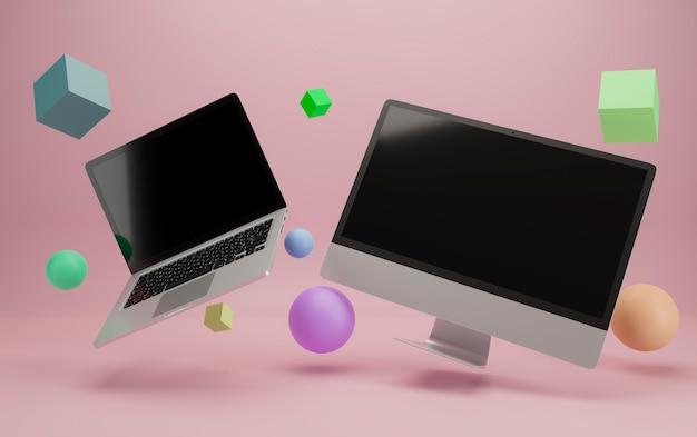 Fliegender laptop und desktop-computer, abgerundet von primitiven 3d-objekten. bereit für modelle