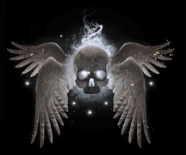Fliegender menschlicher schädel mit flügeln im rauch. realistische illustration isoliert. mystische handzeichnung.