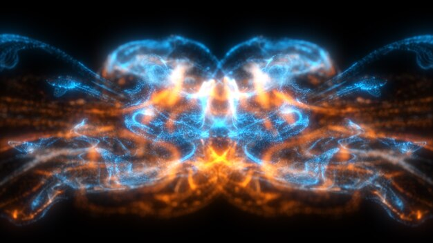 Fließende blaue und orange farbpartikel, die schön mit abstraktem hintergrund der schärfentiefe fließen