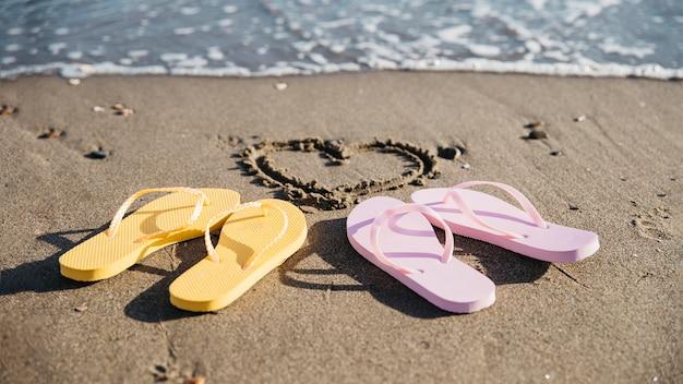 Flipflops im sand am strand