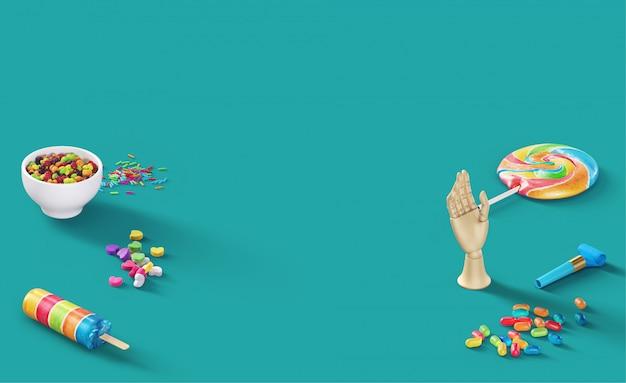 Flippige hellblaue website-titelszene mit süßigkeiten-lutscher-pop-sichel-geleebohnen und feiernahrung für kinder