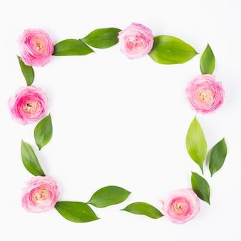 Floral quadratischen rahmen mit blättern