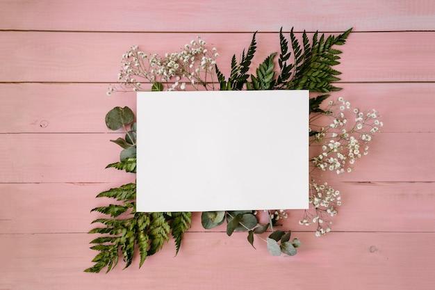 Floral zusammensetzung mit vorlage und rosa hintergrund
